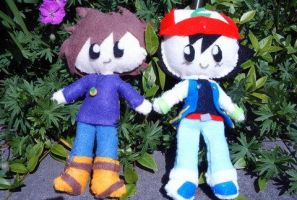 Gary and Ash Plushies by Pinkproposal