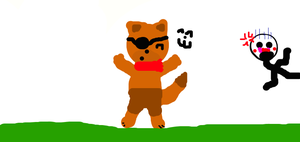 Foxy the scarfed pirate fox and Puppet! by KittyFunTime