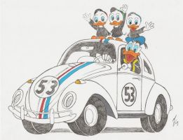 Donald Duck and Herbie by zombiegoon
