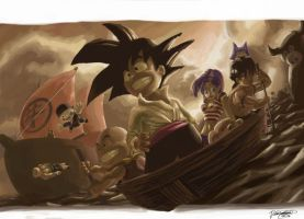 goku and co. at sea by dchan316