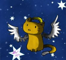 Winged Cat Coloured by naochandoodles