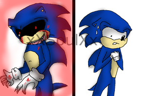 Sonic.exe and Sonic by xXSoulEatingArtistXx