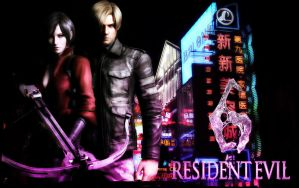 RE6 - leon x ada wallpaper by cyber-rayne