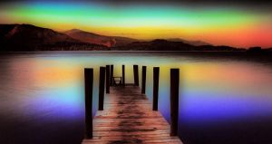 Derwent Water Jetty At Dusk by derekbeattieimages