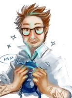 Dr.Newt and baby kaiju by tikal