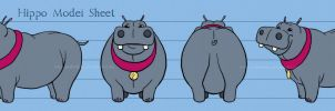 Fred the Hippo Model Sheet by AmberDust
