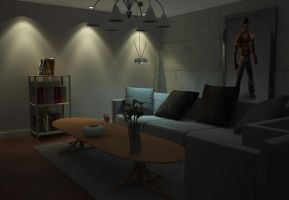 Living room night scene by aXel-Redfield