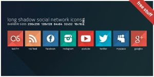 long shadow social network icons by r-design-de