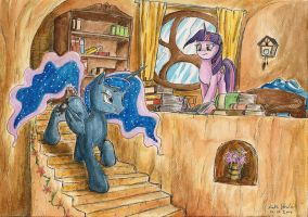 Luna and Twilight Sparkle by SoulEaterSaku90