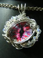 Pink And Purple Wire Wrapped Eye With Beads by BacktoEarthCreations