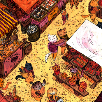 Cats At The Morning Market by silenoswithaleopard