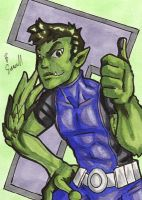 Beast Boy Sketch Card by ibroussardart