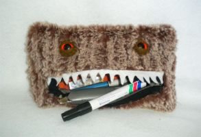 Brown Monster Pencil Case by StuffItCreations