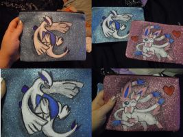 Hand Painted Pokemon Glitter Bags by SailorUsagiChan