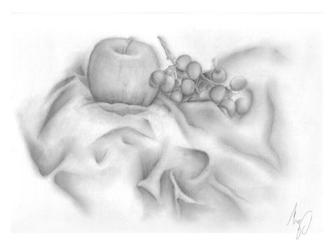 Apple, Grapes and Cloth by May56ART
