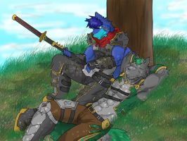 Alpha resting with Lance by AlphaMoonlight