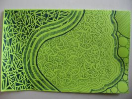 Ink on green paper by Lynx38