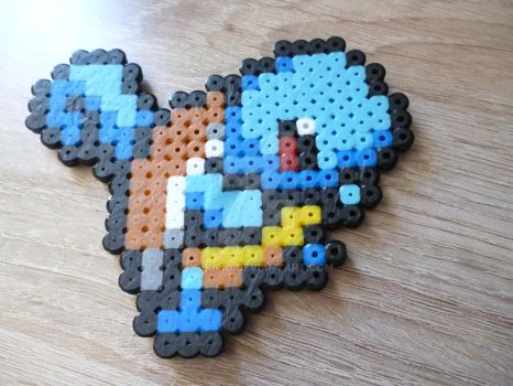 Sprite of squirtle from Pokemon in perler beads by Kukirio