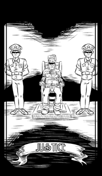 JUSTICE--Tarot Major Arcana--Uncolored by christhedillow