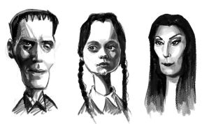 Addams Family Portrait Study by NightshadeBerry