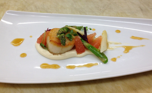 Scallop with Grapefruit and Asparagus Salad by TheSilverChef