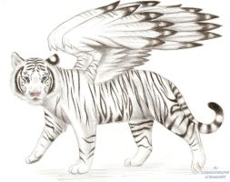 Winged White Tiger by grouchywolfpup