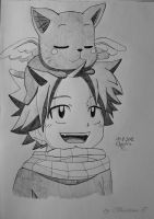 young Natsu with young Happy by Monstacookie