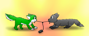 earphone tug of war by CoolCodeCat