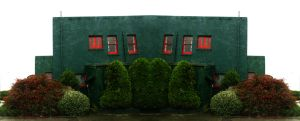 Green and red house by iram