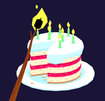 low poly birthday cake by TedMartens