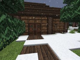 Minecraft Hunter's Wooden Cabin Close Up View by lilgamerboy14