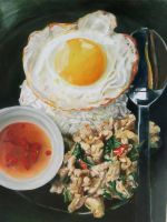 Basil Fried Chicken and fried egg (Thai food) by Wongsakorn420