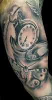 Pocketwatch, butterfly and feather tattoo by thirteen7s