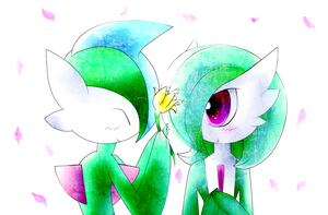 Gallade And Gardevoir by legandarydeviant
