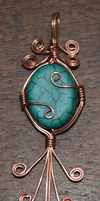 Copper and green wire wrapped pendant by Nanahuatli
