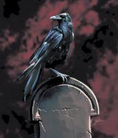 Raven on a Tomb by YairMor