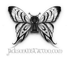 Butterfly Keyhole Tattoo Design Jackson, MS by jacksonmstattoo