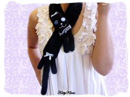 Blue Bows Black Kitty Scarf by Cateaclysmic