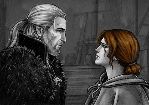 Triss Merigold and Geralt by NastyaKulakovskaya