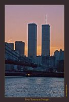 Twin Towers at Twilight by oaksong