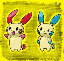 Plusle and Minun by LugiaLuvr13