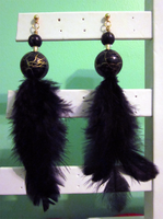 Black - Gold Feather Earrings by BloodRed-Orchid