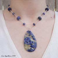 Sodalite Blue Flower Necklace by Cillana