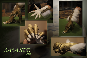 GoldFur Dragon Gloves by SagandeTeam
