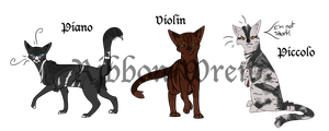 Instrument Cats Batch #2 by Ribbon-Wren