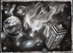 Doctor Who Tardis in charcoal by jacqui-kate