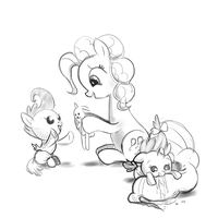 Pinkie Pie, Pound, and Pumpkin Cake Sketch by Incomplete-Obsession