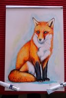 Watercolor fox by EmiliaPaw5