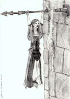 Abygail hanging off Flagpost by QueenAravis