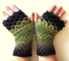 Moss Dragon Gloves by FearlessFibreArts